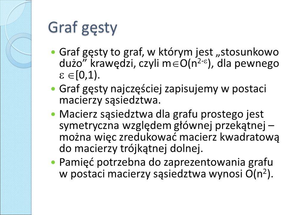 """Graf gęsty Graf gęsty to graf, w którym jest """"stosunkowo dużo krawędzi, czyli mO(n2-), dla pewnego  [0,1)."""